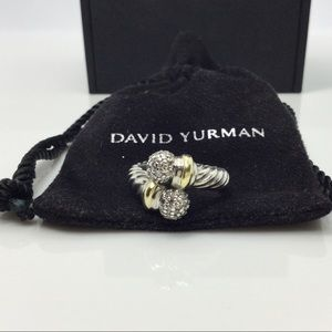 David Yurman 925 & 18k Bypass Ring W/ Diamonds 6